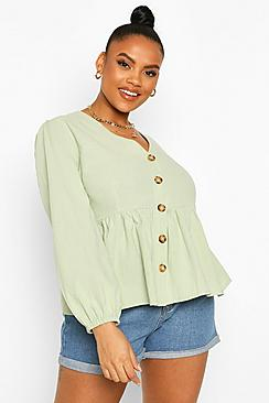 Plus Blouson Sleeve Peplum Top