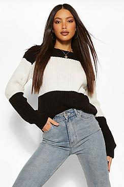 Tall Colour Block Knitted Sweater