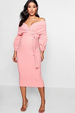 Maternity Off The Shoulder Wrap Midi Dress