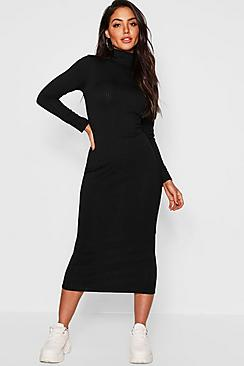 Jumbo Rib Roll Neck Midi Dress