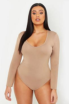 Plus Basic Long Sleeve V Neck Body Suit