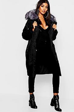 Oversized Faux Fur Fly Hood Luxe Parka