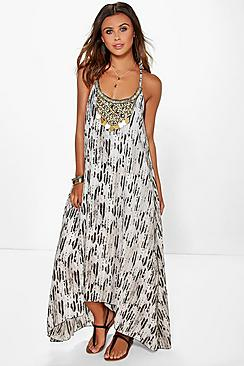 Petite  Snake Print Beaded Hanky Hem Dress