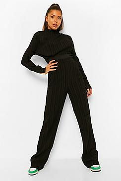 Textured High Waisted Wide Leg Trousers