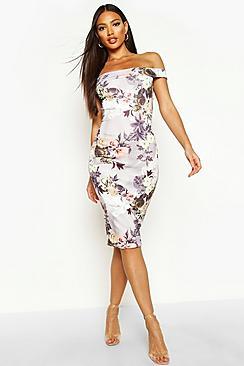 Off The Shoulder Floral Midi Dress