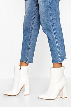 Wide Fit Flared Heel Sock Boots