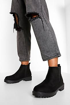 Elastic Panel Chunky Cleated Chelsea Boot