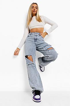 Ripped Boyfriend Jeans With Bleach Splatter