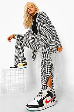 Dogtooth Check Split Front Trousers