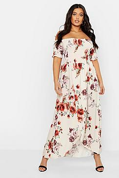 Plus Floral Off Shoulder Maxi Dress