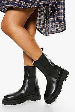 Wide Fit Calf High Chunky Sole Chelsea Boot