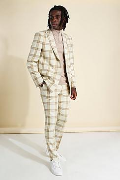 Skinny Check Double Breasted Suit Jacket