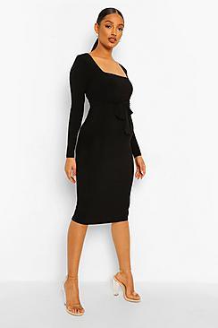 Maternity Square Neck Long Sleeve Midi Dress