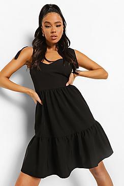 Scoop Back Strappy Swing Dress