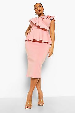 Plus Occasion Ruffle Peplum Midi Dress