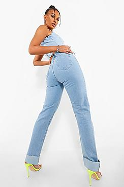 Raw Hem Roll Up Straight Leg Jean