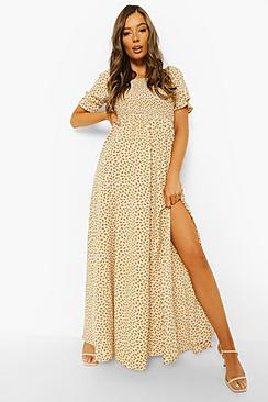 Ditsy Floral Square Neck Shirred Maxi Dress