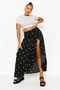 Plus Polka Dot Wrap Midi Skirt