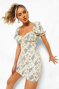 Floral Puff Sleeve Button Front Mini Dress