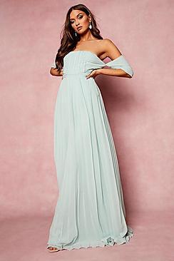 Pleated Bardot Bridesmaid Maxi Dress