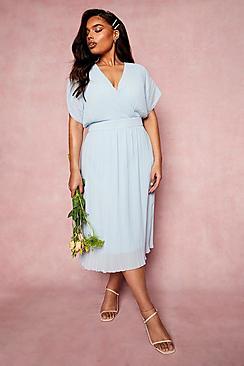 Plus Occasion Pleated Wrap Midi Dress