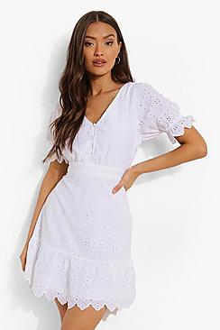 Broiderie V Neck Frill Hem Dress