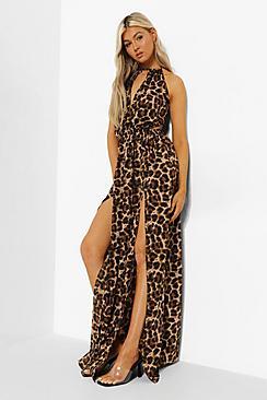 Tall Leopard Backless Maxi Dress