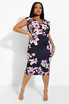 Plus Occasion Ruffle Floral Midi Dress