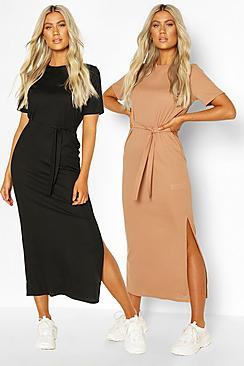 Tall Side Split Rib Midi Dress 2 Pack