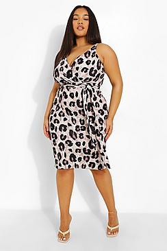 Plus Occasion Leopard Wrap Midi Dress