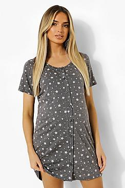 Maternity Button Front Star Nightie