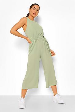 Woven Sleeveless Culotte Jumpsuit