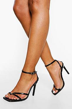 Wide Fit Croc Toe Post Stiletto Heel Two Part