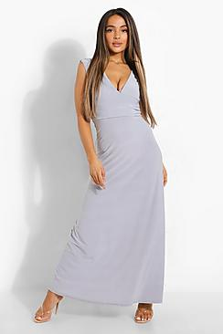 Petite  Plunge Ruched Maxi Dress