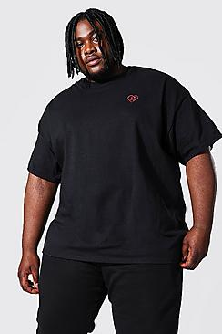 Plus Size Heart Drip Embroidered T-shirt