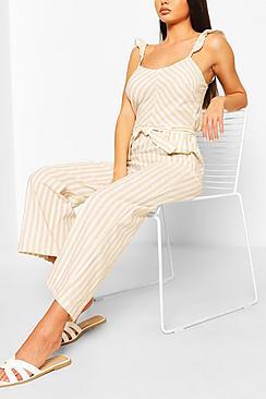 Linen Mix Stripe Ruffle Jumpsuit