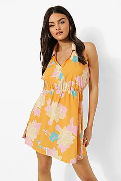 Floral Print Sleeveless Shirt Dress