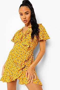 Woven Ditsy Floral Ruffle Wrap Front Tea Dres