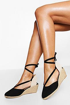 Wide Fit Wrap Up Canvas Wedges