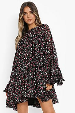 Floral Print Pleated Detail Smock Dress