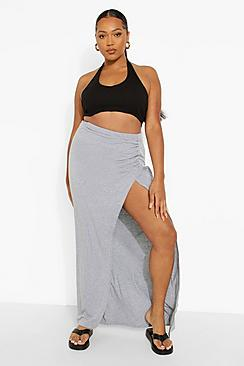 Plus Jersey Side Ruched Maxi Skirt