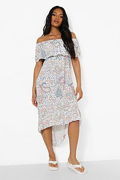Petite Paisley Print Bardot Maxi Dress