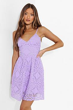 All Over Lace Ruffle Skater Dress