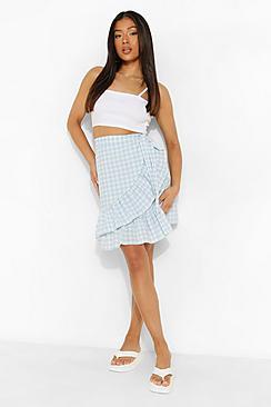 Petite Gingham Ruffle Hem Wrap Mini Skirt