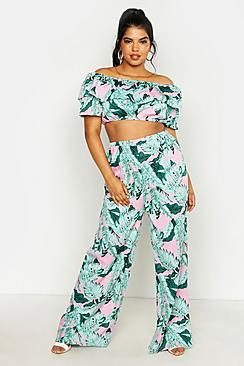 Plus Palm Print Off Shoulder Top And Trouser Co-ord