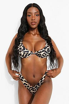 Fuller Bust Leopard Rib Underwired Bikini Top