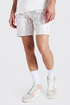 Relaxed Fit Bleached Denim Short