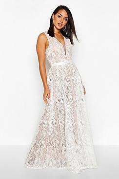 Boutique Lace Plunge Maxi Bridesmaid Dress
