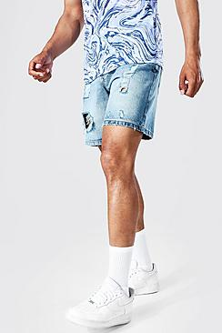Relaxed Fit Extreme Ripped Denim Short