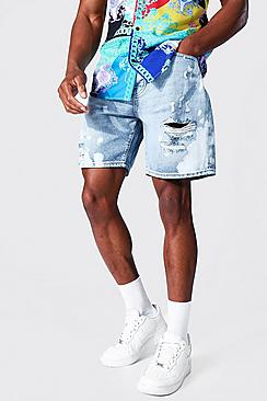 Se  Relaxed Fit Rigid Bleached Denim Short ved Boohoo.com